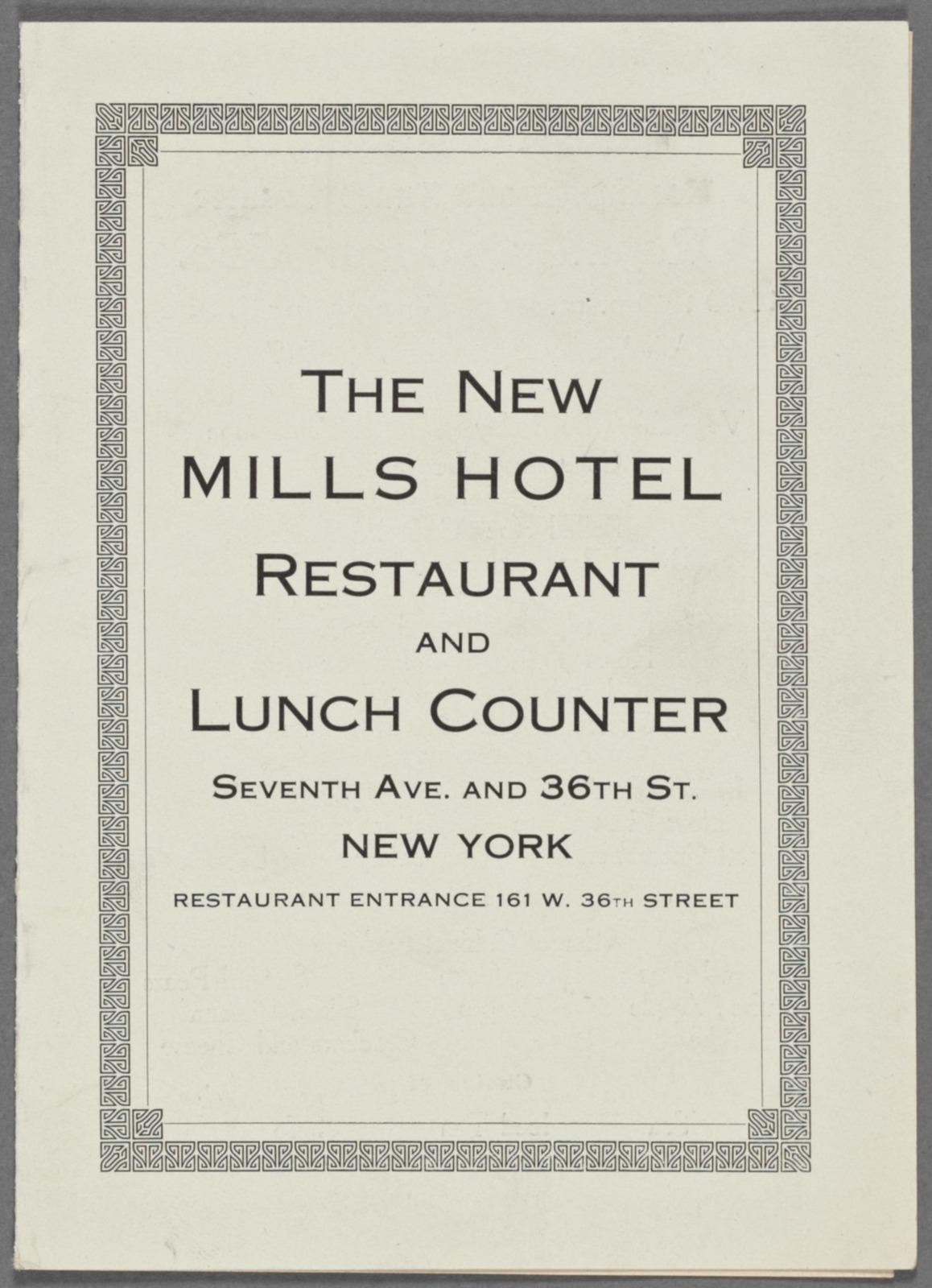 The New Mills Hotel Restaurant and Lunch Counter
