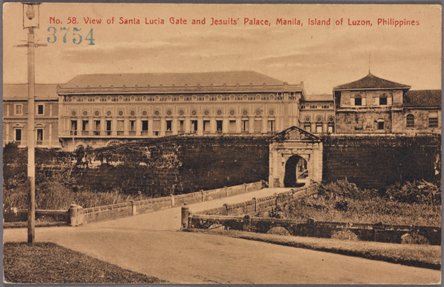 View of Santa Lucia Gate and Jesuit's Palace, Manila, Island of Luzon, Philippines.