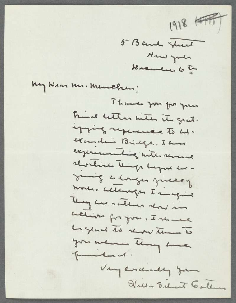 Letter from Willa Cather of Nov. 6, 1918