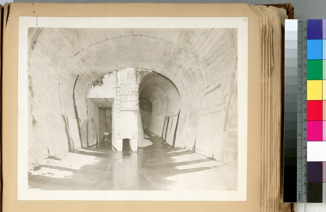 Catskill Aqueduct Headworks.  Looking up-stream from end of covered portion of Waste channel. Screen chamber can be emptied through opening at left. In center is 3-foot drain for gate-chambers. Contract 10. September 25, 1913.