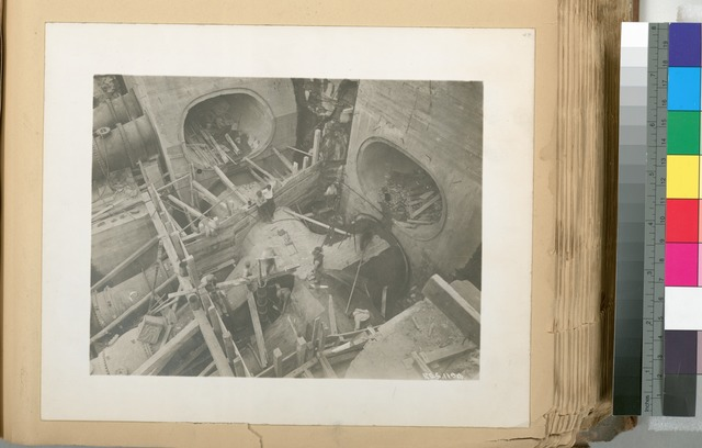 Catskill Aqueduct Headworks. Placing concrete forms for connections between Lower Pressure aqueduct and 48-inch control valves. Intake castings from Upper Pressure aqueduct to 48-control valve at left. Contract 10. May 6, 1913.