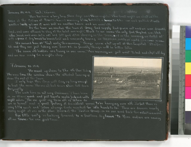 Diary entries ; January 29, 1919 Toul, France; February 20, 1919; photograph depicting town of Toul, France.