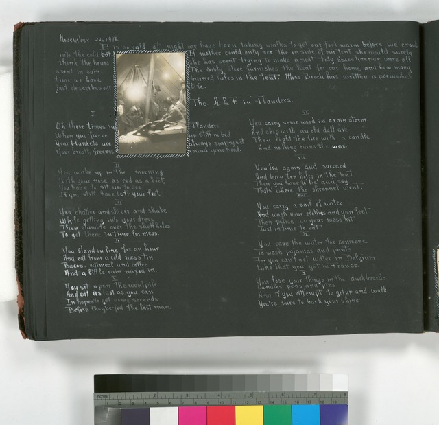 """Diary entries : November 11, 1918 """"Peace"""";  November 20 1918; photographs depicting American nurse on railroad trolley with German helmets, German soldier's cemetery."""