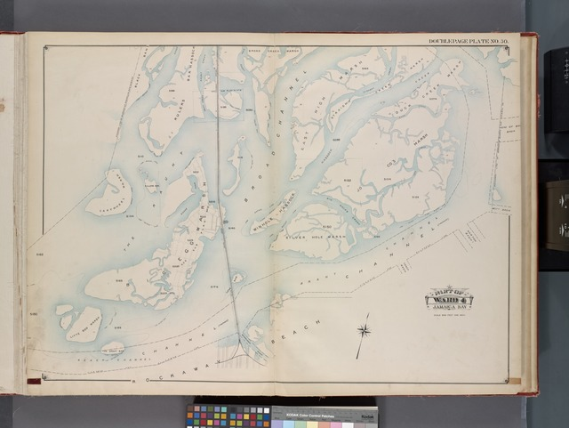 Queens, V. 1, Double Page Plate No. 30; Part of Jamaica, Ward 4; [Map bounded by boundary line between Brooklyn and Queens, Broad Creek Marsh, boundary line of Borough of Queens and Nassau Co., Rockaway Beach]