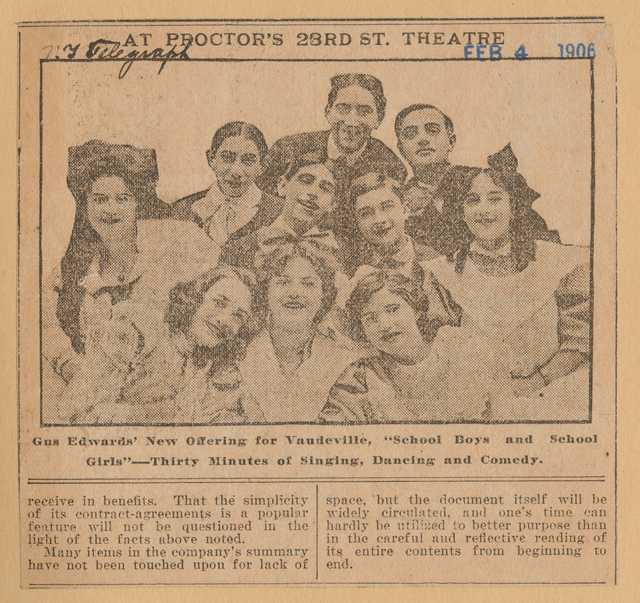 Gus Edwards and cast of Vaudeville production School Boys and School Girls as published in the New York Telegraph, February 4, 1906