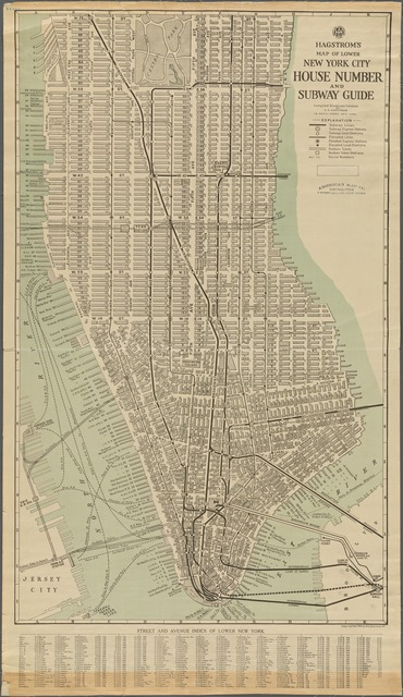 Hagstrom's Map of lower New York City, House Number and Subway Guide.