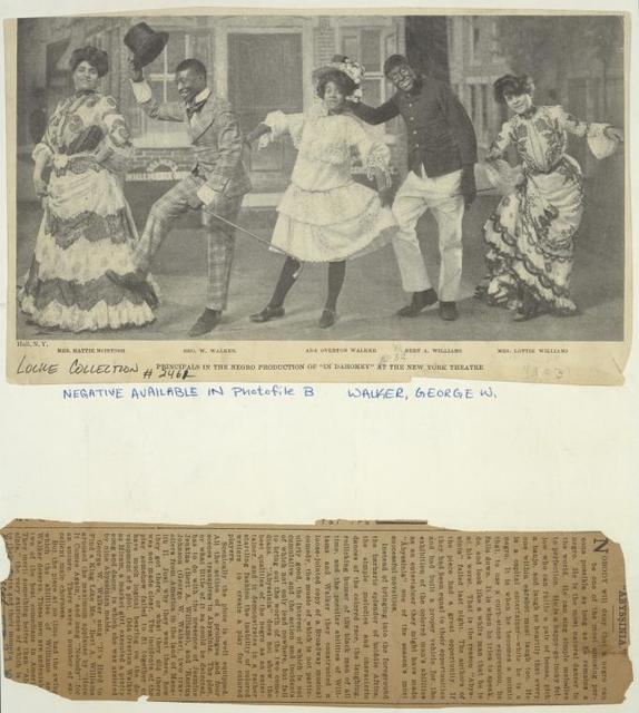 Hattie McIntosh, George W. Walker, Aida Overton Walker, Bert A. Williams, and Lottie Williams in the stage production In Dahomey.