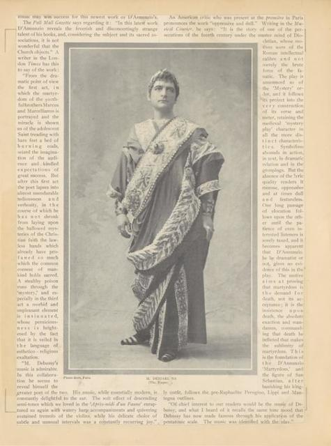 Publicity photo of M. Desjardins as the Emperor in the stage production The Martyrdom of Saint Sebastian. The Theatre Magazine, July 1911, pg. 7