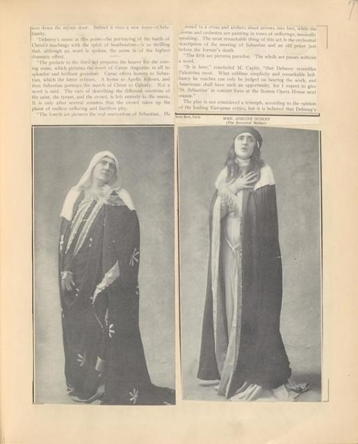 Publicity photos of (left) Mme. Adeline Dudley as the Sorrowful Mother and Mme. Vera Sergine in the stage production The Martyrdom of Saint Sebastian. The Theatre Magazine, July 1911, pg. 6