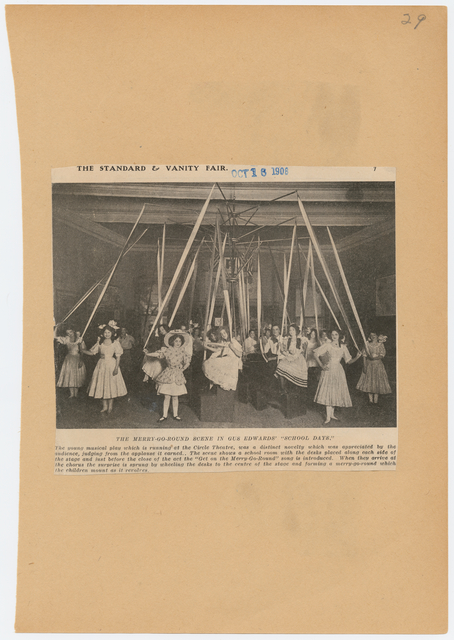 The cast performing the merry go-round scene in the stage production School Days as published in The Standard and Vanity Fair, October 16, 1908