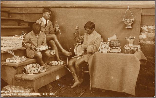 Basket makers, Industrial School, Baguio, P.I.