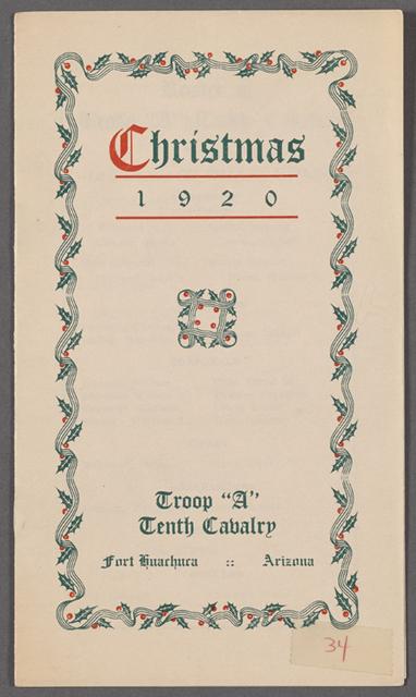 Christmas 1920, Troop A 34: Fort Huachuca, Arizona, 10th Cavalry, Christmas