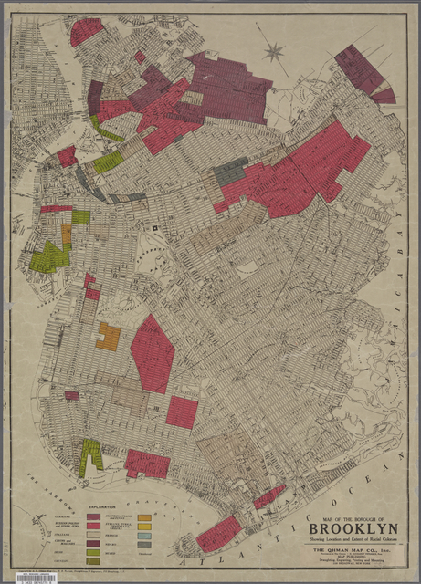 Map of the Borough of Brooklyn showing location of racial colonies.