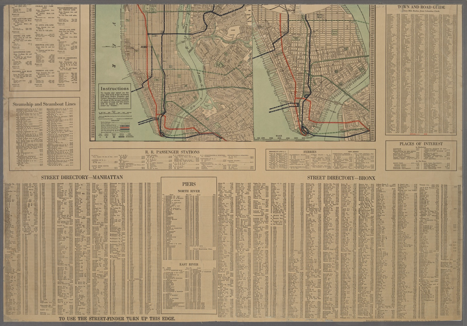 """""""Pleasant's Finder Map"""" Street guide of Manhattan and the Bronx."""