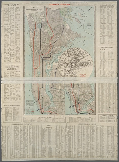 Street guide of Manhattan and the Bronx. Index to streets on margin and verso. Equipped with Pleasants Instantaneous Finder.