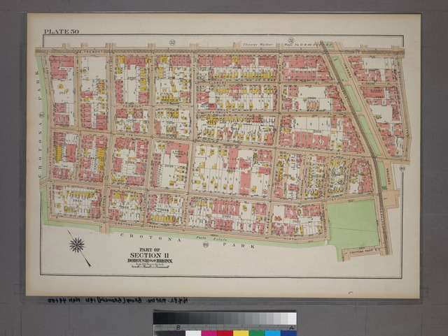 Plate 50, Part of Section 11, Borough of the Bronx. [Bounded by E. Tremont Avenue, Daly Avenue, E. 176th Street, Crotana Parkway, E. 175th Street, Crotana Park North and Arthur Avenue.]