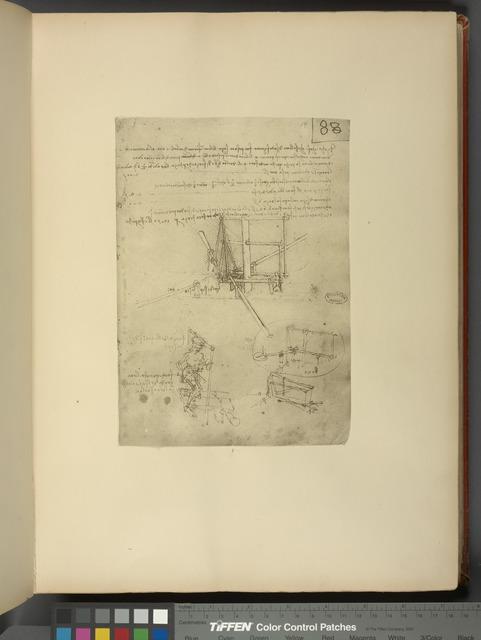 Dessins orignaux de Léonard de Vinci, relatifs à ses études sur le vol artificiel.