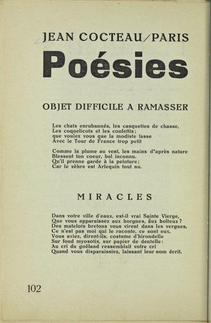Jean Cocteau (Paris) : Poésies. (Objet difficile a ramasser; Miracles)
