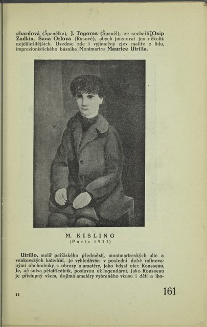 O mladém umění ve Francii (continued); M. Kisling (Paris, 1922) : [Portrait of a seated boy]