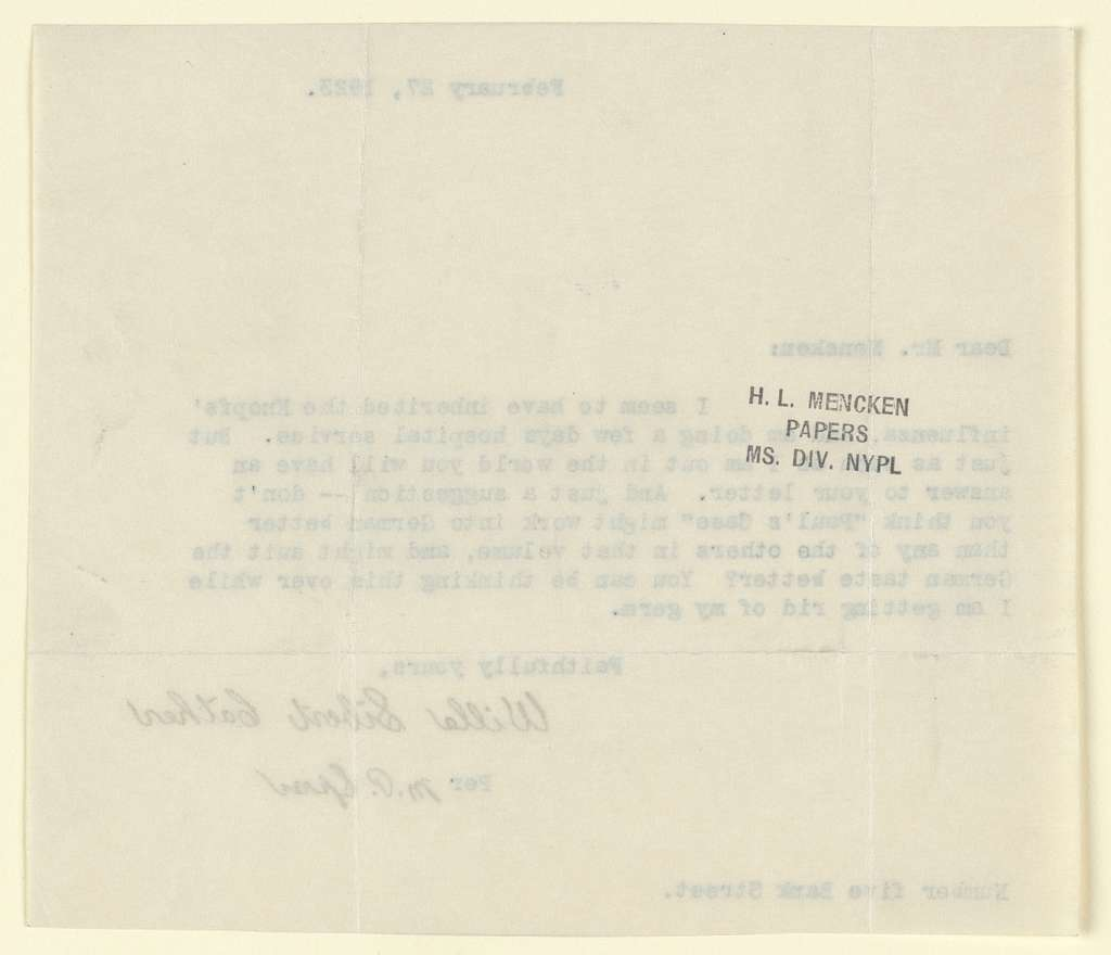 Letter from Willa Cather per M.P. Spear of Feb. 27, 1923