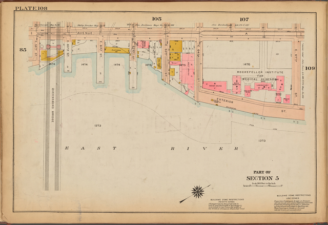 Plate 108: [Bounded by Avenue A, E. 67th Street, Exterior Street, East River and E. 59th Street]