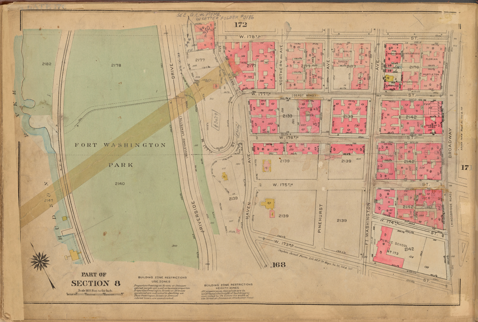 Plate 170: [Bounded by W. 178th Street, Broadway, W. 173rd Street and (Hudson River, Fort Washington Park) Riverside Drive]