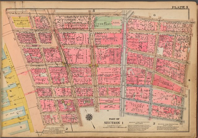 Plate 3: [Bounded by Vesey Street, Ann Street, William Street, Pine Street, Broadway, Thames Street, Greenwich Street, Carlisle Street and (Hudson River Piers) West Street]