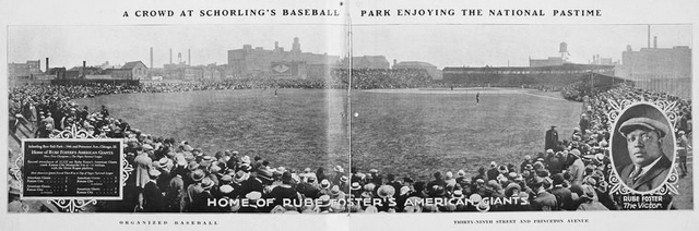 A crowd at Schorling's baseball park enjoying the national pastime; Home of Rube Foster's American Giants.