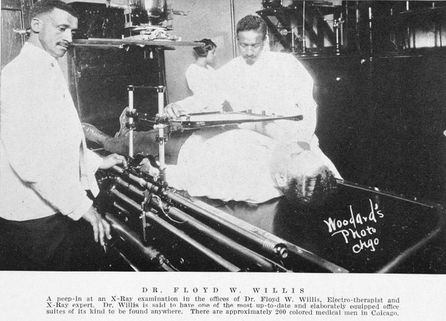 Dr. Floyd W. Willis; A peep-in at an X-ray examination in the offices of Dr. Floyd W. Willis, electro-therapist and X-ray expert.