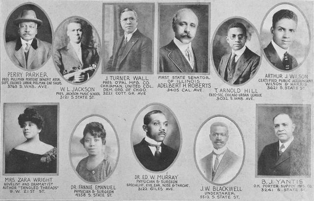 Perry Parker; W,L, Jackson; J. Turner Wall; Adelbert H. Roberts; T. Arnold Hill; Arthur J. Wilson; Mrs. Zara Wright; Dr. Fannie Emanuel; Dr. Ed. W. Murray; J. W. Blackwell; B.J. Yantis.