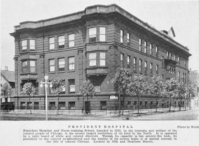 Provident Hospital and Nurse-training School, founded in 1891, in the interests and welfare of colored people of Chicago, is the second largest institution of its kind in the north.