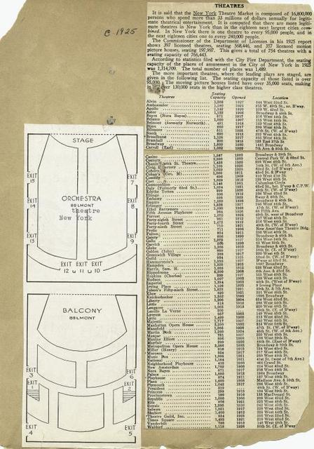 Seating chart for the Belmont Theatre.