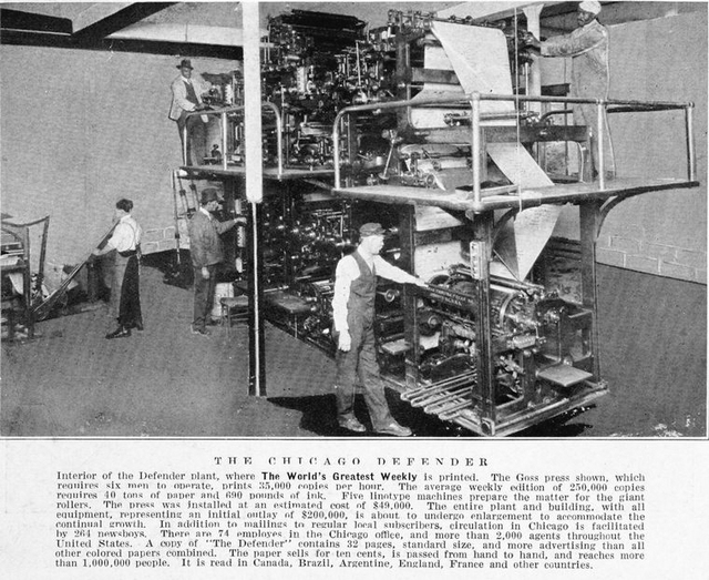 The Chicago Defender; Interior of the Defender plant, where the world's greatest weekly is printed.