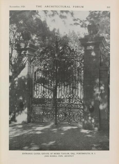 Entrance Gates, House of Moses Taylor, Esq., Portsmouth, R.I.