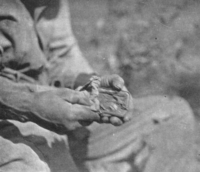 Making a hand.