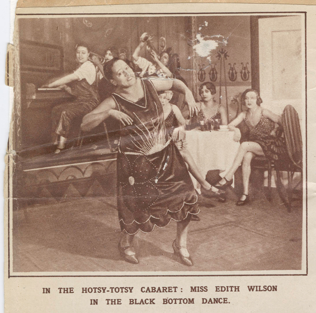 """Singer-actress Edith Wilson performing the Black Bottom Dance in the London stage production of Lew Leslie's """"Blackbirds"""" (1926)."""