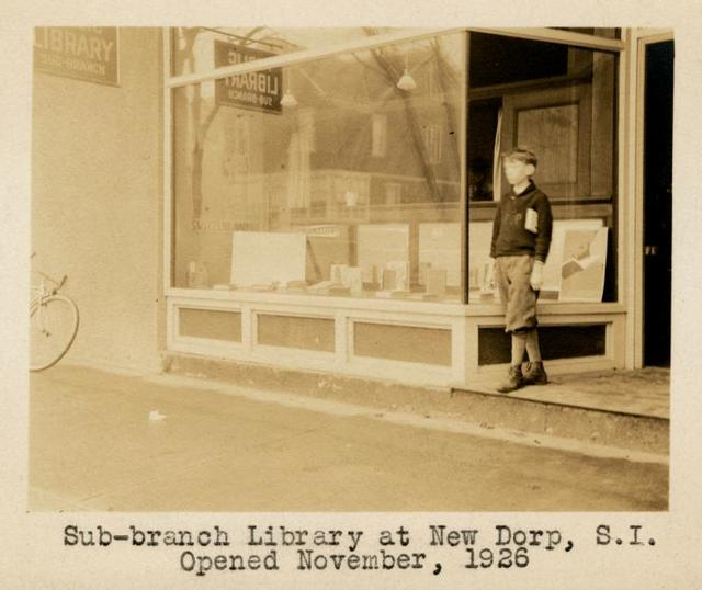 """""""Sub-branch Library at New Dorp, Staten Island, Opened November, 1926"""" [180 Rose Avenue]"""
