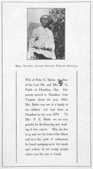 Mrs. Hattie Agnes Richie Fields Butler.