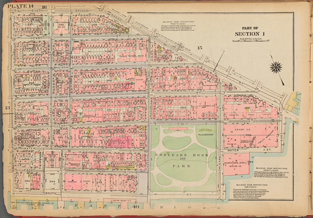 Plate 14, Part of Section 1: [Bounded by East Broadway, Grand Street, East Street, Water Street, Corlears Street, South Street and Montgomery Street]