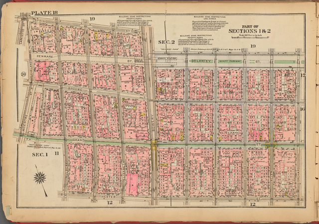 Plate 18, Part of Sections 1 & 2: [Bounded by Spring Street, Bowery, Delancey Street, Orchard Street, Hester Street, Mulberry Street, Grand Street, Centre Street and Cleveland (Marion St.) Place]