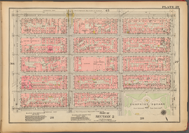 Plate 29, Part of Section 2: [Bounded by E. 14th Street, Avenue B, (Tompkins Square) E. 10th Street, Avenue A, E. 9th Street and Second Avenue]