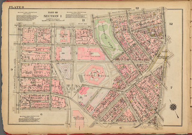 Plate 8, Part of Section 1: [Bounded by Franklin Street, Baxter Street, Bayard Street, Bowery, New Bowery, New Chambers Street, Lafayette Street, Reade Street and Broadway]