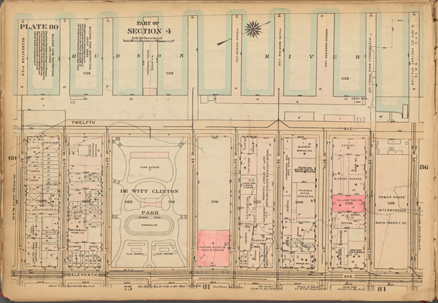 Plate 80, Part of Section 4: [Bounded by (Hudson River Piers) Twelfth Avenue, W. 59th Street, Eleventh Avenue and W. 50th Street]