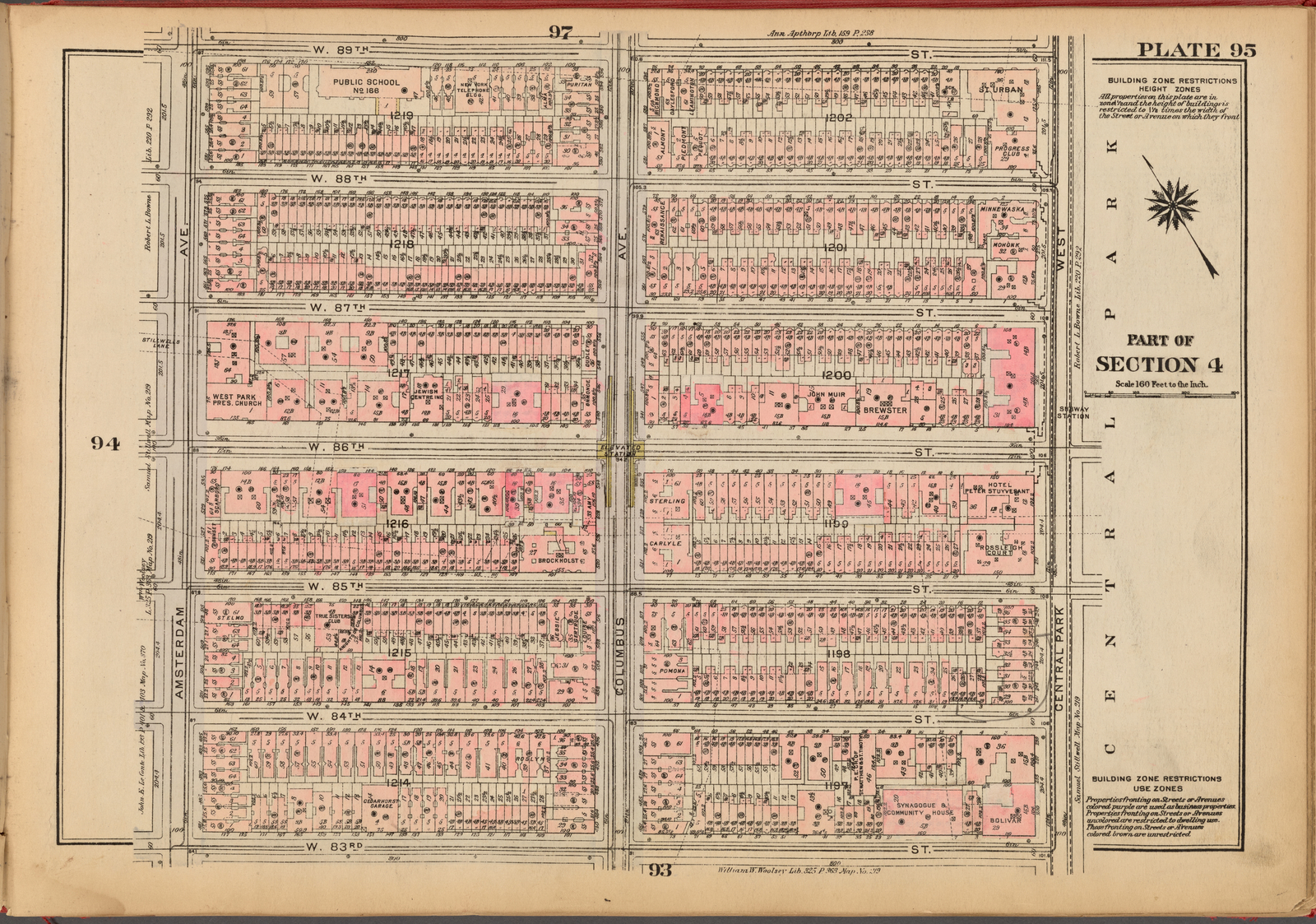 Plate 95, Part of Section 4: [Bounded by W. 89th Street, Central Park West, W. 83rd Street and Amsterdam Avenue]