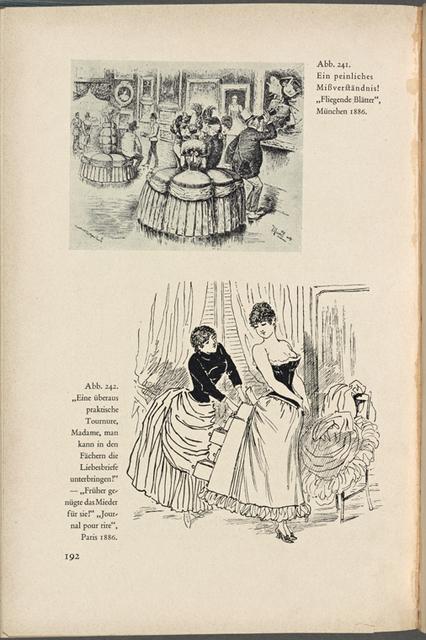 """""""Ein peinliches Missverständnis"""" (Fliegende Blätter, München 1886); """"Eine überaus praktische Tournure, Madame, ..."""" (Journal pour rire, Paris 1886) S. 192, Abb. 241, 242"""