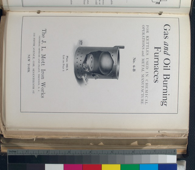 No. 6-B. Plate 102-X. Gas and oil burning furnaces for kettles used in chemical operations and metal manufacture.