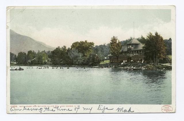 Bath House and Bathers, Silver Bay, Lake George, N. Y.
