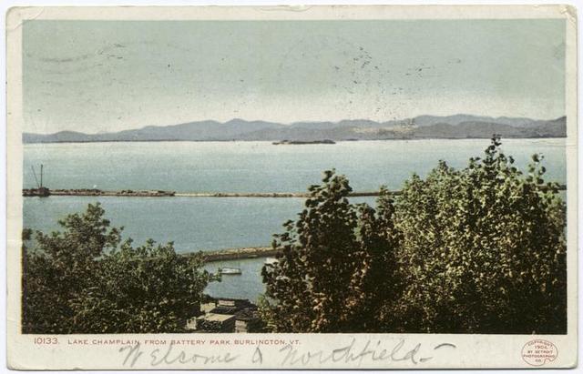 Battery Park from Burlington , Vermont, Lake Champlain, Vt.