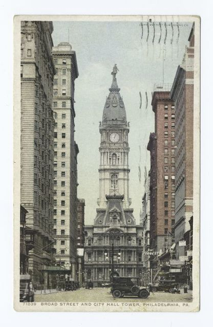 Broad Street and City Hall Tower, Philadelphia., Pa.