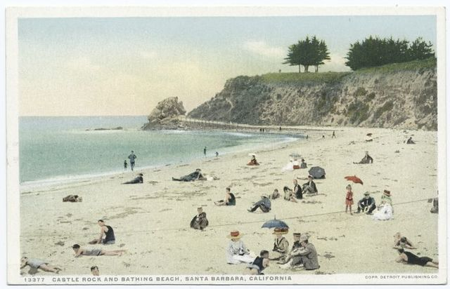 Castle Rock and Bathing Beach, Santa Barbara, Calif.
